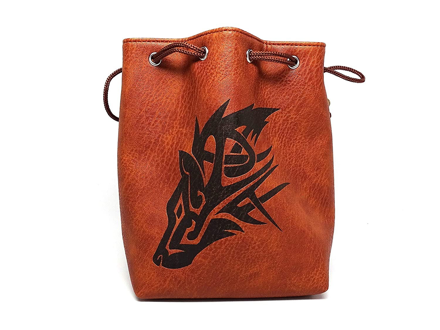 Brown Leather Lite Large Dice Bag Wolf Design - Brown Faux Leather Exterior Lined Interior - Stands up on its Own Holds 400 16mm Polyhedral Dice   B07GD7B17S
