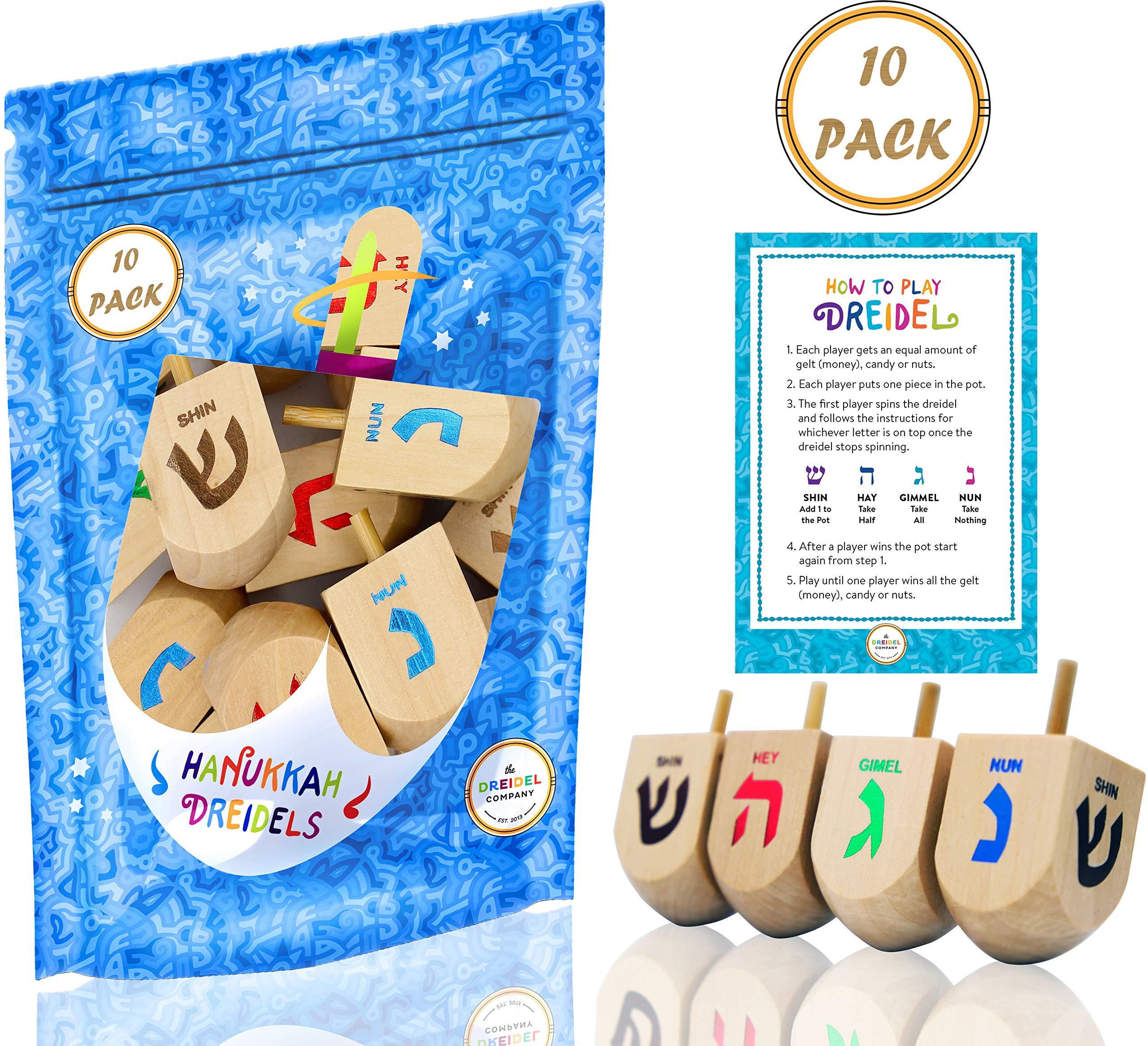 Hanukkah Dreidel Extra Large Wooden Dreidels Hand Painted - Includes Game Instruction Cards! (10-Pack XL Dreidels)