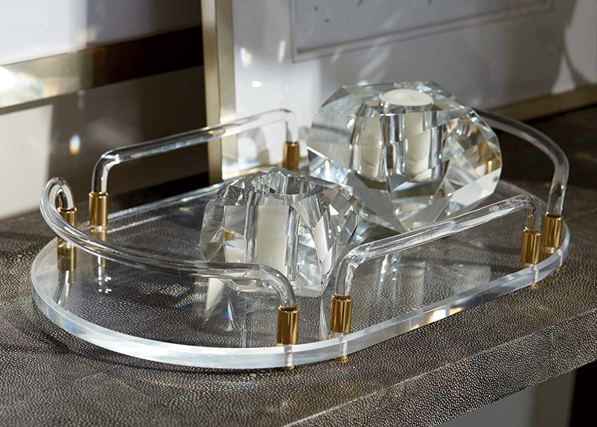 Ethan Allen Bella Faceted Crystal Tealight Candle Holders, Set of 2