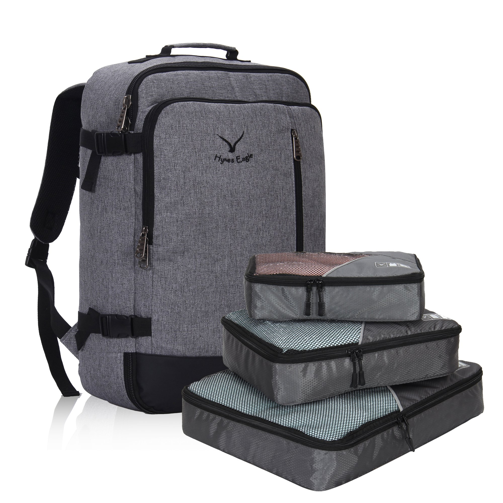 Hynes Eagle 38L Flight Approved Weekender Carry on Backpack Black Grey with Grey 3PCS Packing Cubes by Hynes Eagle