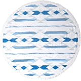 Bonita Beach Collection Round 'Roundie' Beach Towel Thick Terry Cotton with Fringe Tassels - Various Designs & Colors (The Coachella Valley (Blue/White))