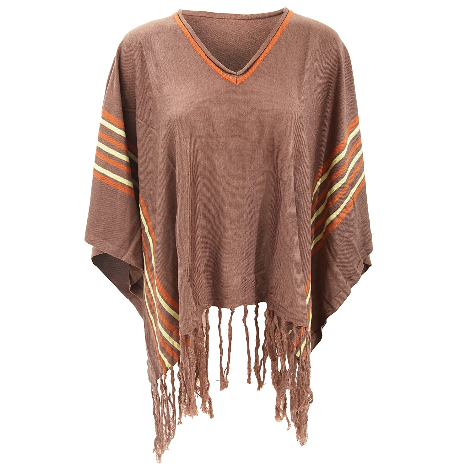 Universal Textiles Womens/Ladies Stripe Pattern Poncho With Fringe Tassels UTKNIT155_1