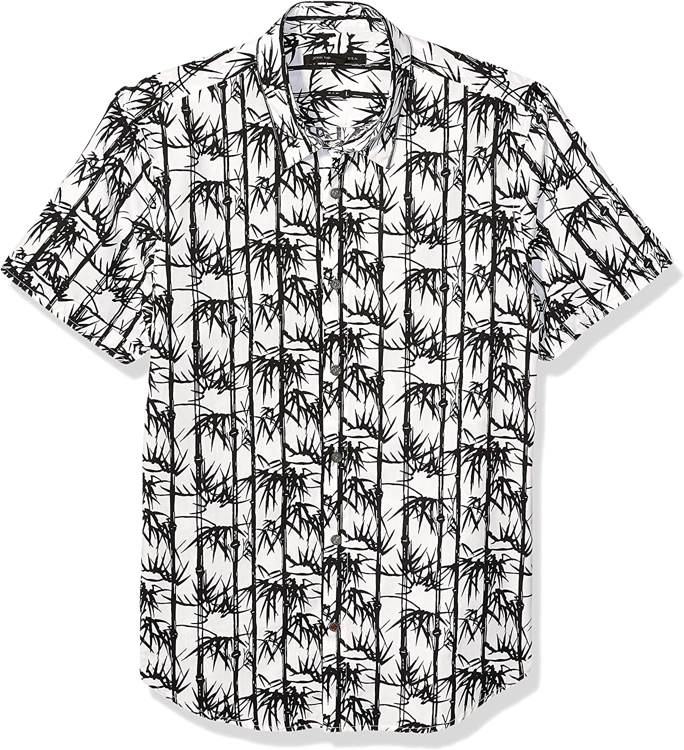 John Varvatos Star USA Men's Jasper Bamboo Print Short Sleeve Sport Shirt