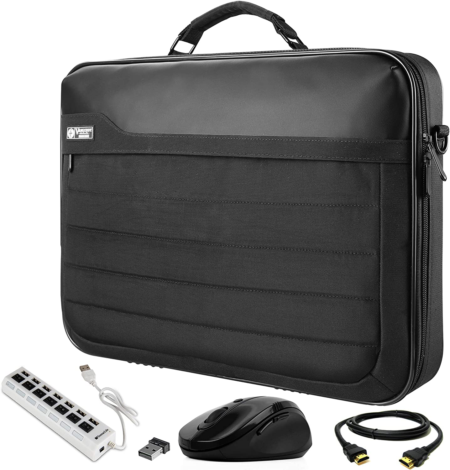 Mouse VanGoddy Briefcase Bag 17.3 inch with HDMI Cable and USB Hub Fit for AOC 17-Inch Portable Monitor e1759Fwu