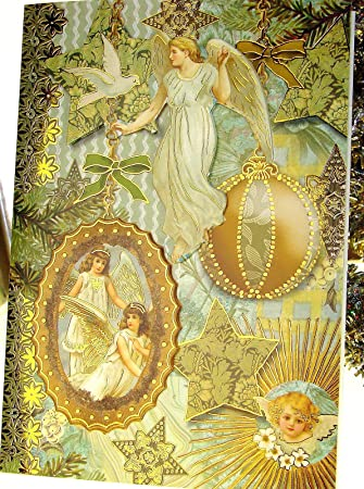 Amazon punch studio 59780 angel christmas holiday greeting punch studio 59780 angel christmas holiday greeting cards die cut gold embellished boxed m4hsunfo