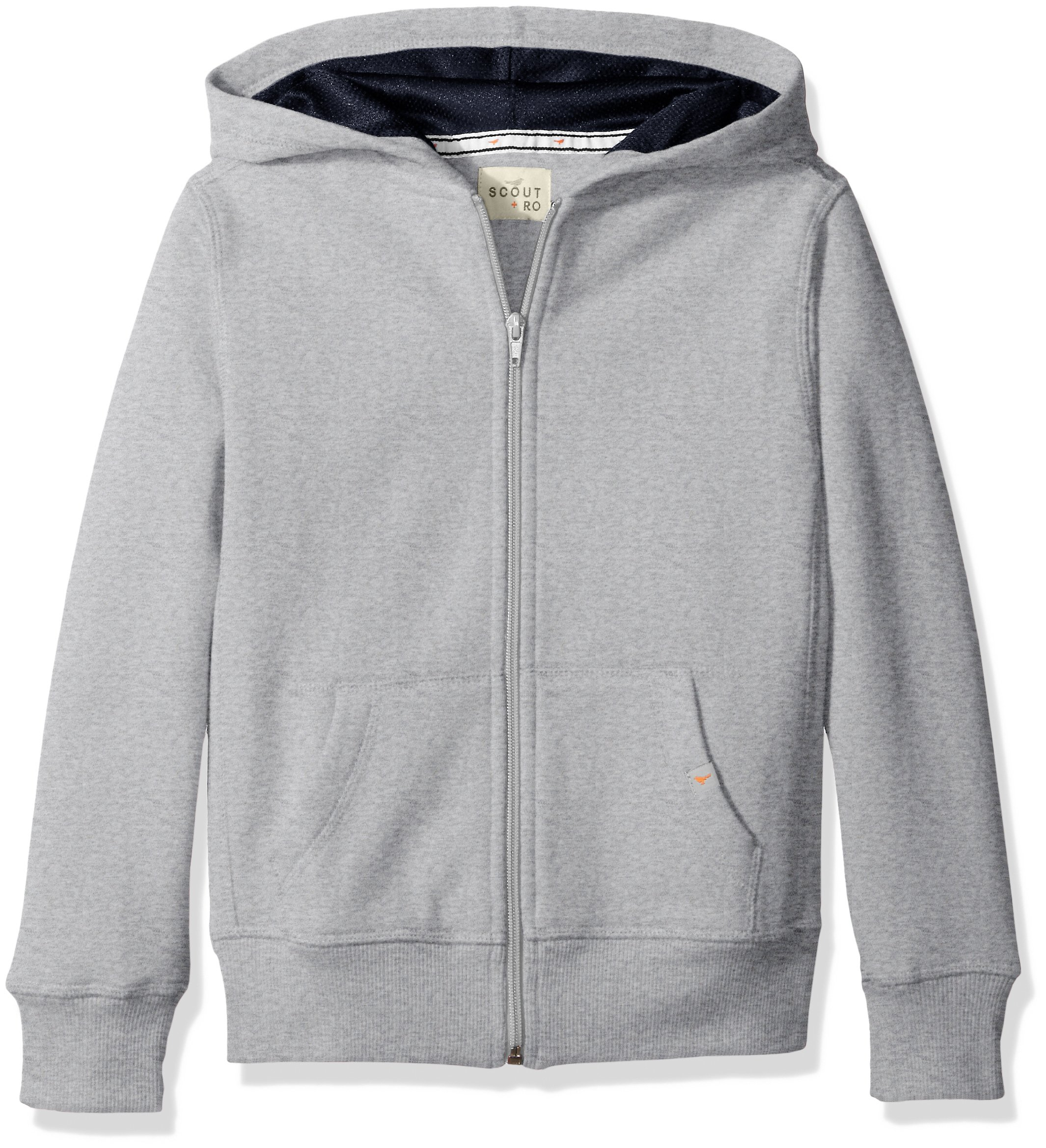 Scout + Ro Big Boys' Basic Fleece Hooded Jacket, Grey Heather, 14 by Scout + Ro (Image #1)