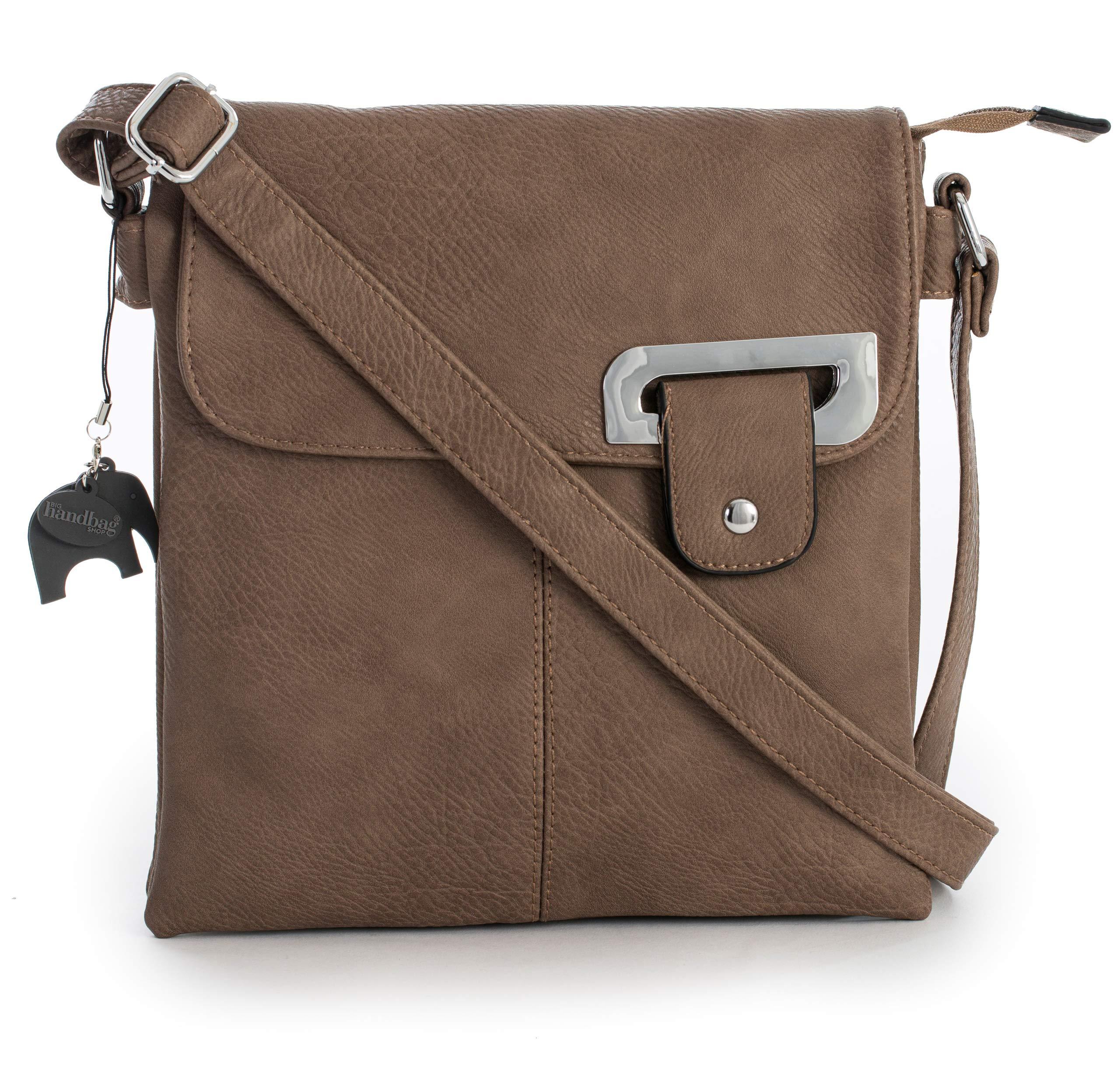 b23a014536c6 Big Handbag Shop Womens Medium Trendy Messenger Cross Body Shoulder Bag  With a Branded Protective Storage
