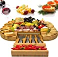 Solander Skelf Original Cheese Board Slide-Out Drawer & 4 Stainless Steel Cheese Knives | Extra Spaces Serving Board & Utensils Gift Set - Luxury extensive Serving Set - Large 100% Bamboo