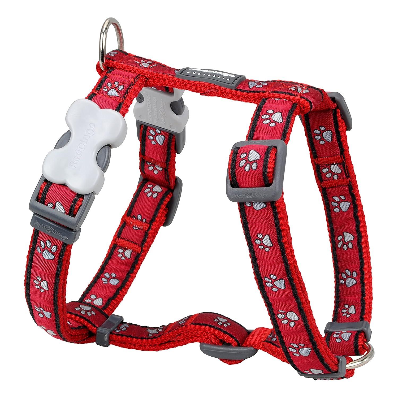 Red Dingo Designer Dog Harness, Large, Red Pawprints