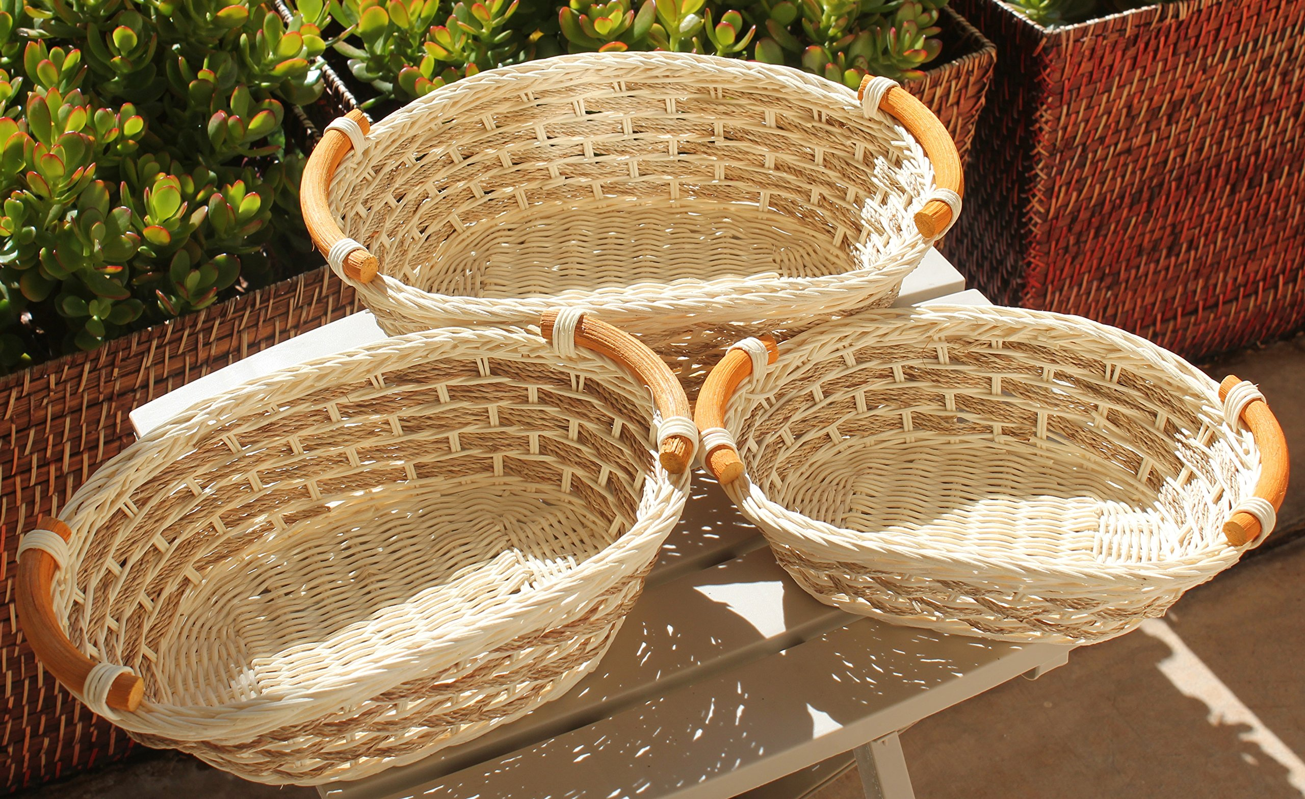 ShopOnNet RT450110-3 Handwoven Wicker Storage Basket Curve Pole Handle in Cream and Sand (Set of 3) - These are handmade eco-friendly wicker storage basket. These baskets are stackable, making storage easy and convenient. Made with durable rattan/Wicker material and each comes with a curve pole handle on each end of the basket. These wicker storage baskets are ideal to have at the dining table for holding bread or bake goods or for holding extra utensils for unexpected guests. They are also perfect to have in the kitchen or bathroom for holding napkins, cotton balls or other beauty tools and products. - living-room-decor, living-room, baskets-storage - 91ejh6SBWzL -