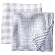 """Margaux & May Grey Newborn Baby Swaddle Blanket Unisex Soft Muslin Swaddle Blankets 47"""" x 47"""" Large Receiving Blanket for Boys and Girls"""