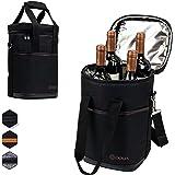 OPUX 高级保温*袋,雅致*便携手提袋,额外保护,便利,耐用*瓶架 黑色 4 Bottle