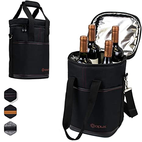 289d0cd81ae1 Premium Insulated 4 Bottle Wine Carrier Tote Bag | Wine Travel Bag with  Shoulder Strap and Padded Protection | Wine Cooler Bag (Black)