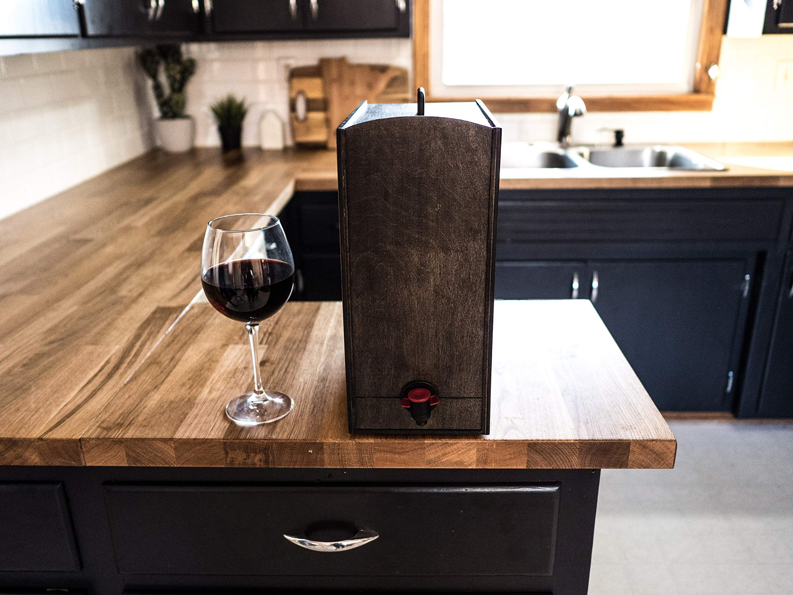 Boxed Wine Wood Case by Winewood | Black Color | Fits 3 Liter and 5 Liter Boxes of Wine | Holder, Dispenser, Cover for Boxed Wine by Winewood Cases (Image #2)