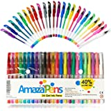 AmazaPens Gel Coloring Pens. 24 Pack, 40% More Ink Than Others! Glitter, Neon & Pastel. Superior Quality Colored Pen. Best Gift for Adult Coloring Books or a Child Who Loves to Draw, Write or Color.