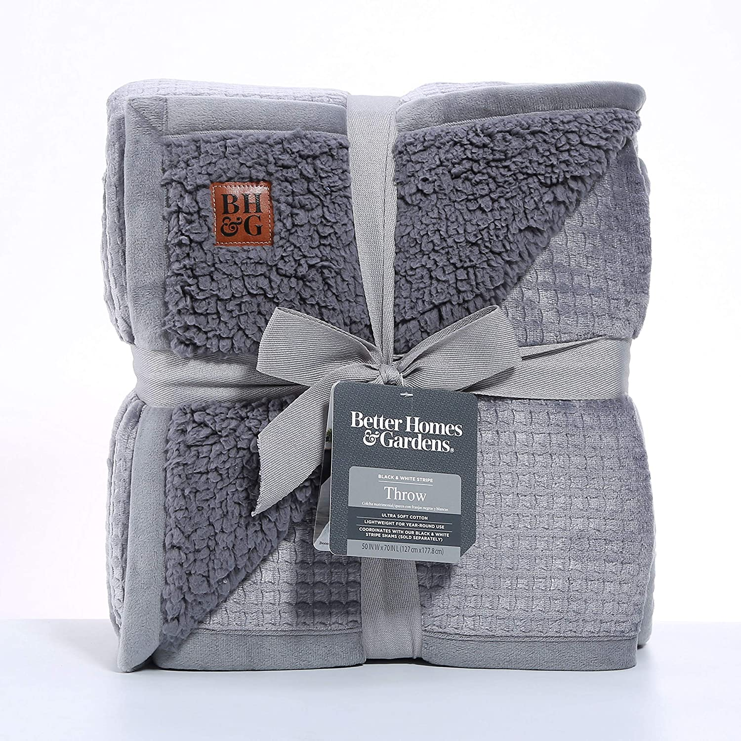 Better Homes & Gardens Oversized Sherpa Throw - Gray Waffle