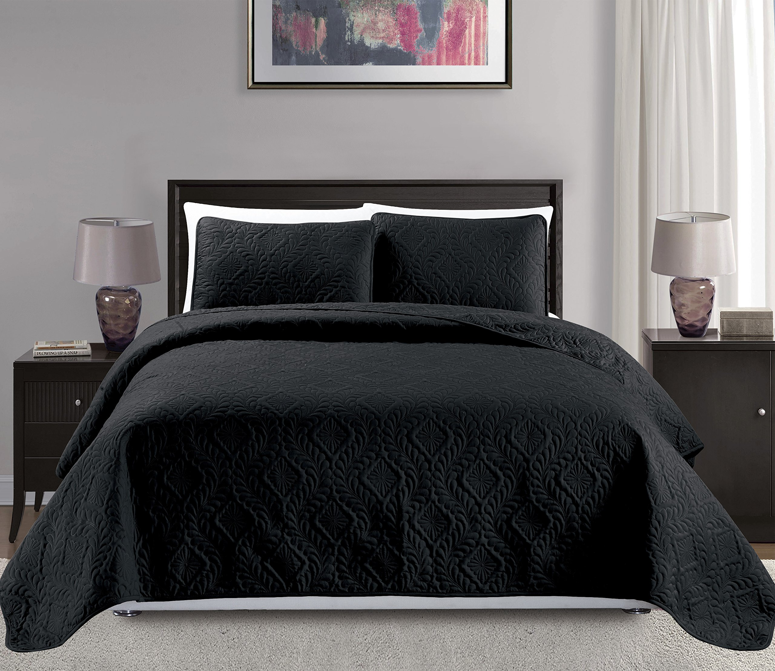 Mk Collection King/California king over size 118''x106'' 3 pc Diamond Bedspread Bed-cover Embossed solid Black New