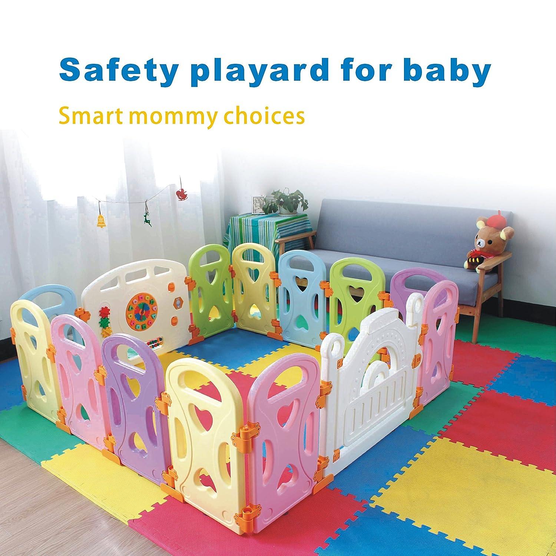 Baby Playpen Kids Activity Centre Safety Play Yard Home Indoor Outdoor New Pen (multicolour, Classic set 14 panel) Joren WL004