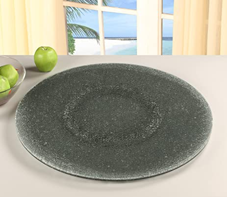Chintaly Imports Lazy Susan Rotating Tray, 24 Inch, Gray Tinted  Glass/Sandwich