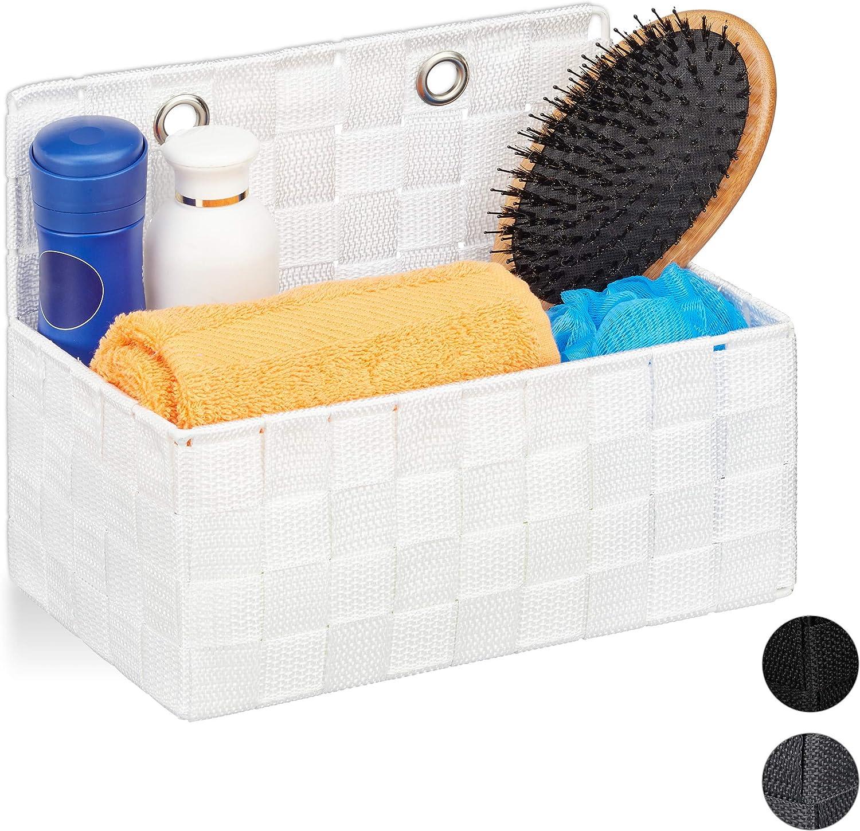 K/örbchen mit Griffen Relaxdays Aufbewahrungskorb mit F/ächern 1 St/ück grau HBT: 10 x 32 x 21 cm Kosmetik Aufbewahrung im Bad