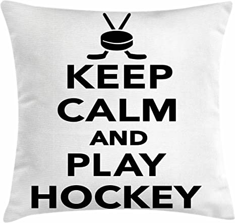 Hockey Throw Pillow Cases Cushion Covers by Ambesonne Home Decor 8 Sizes