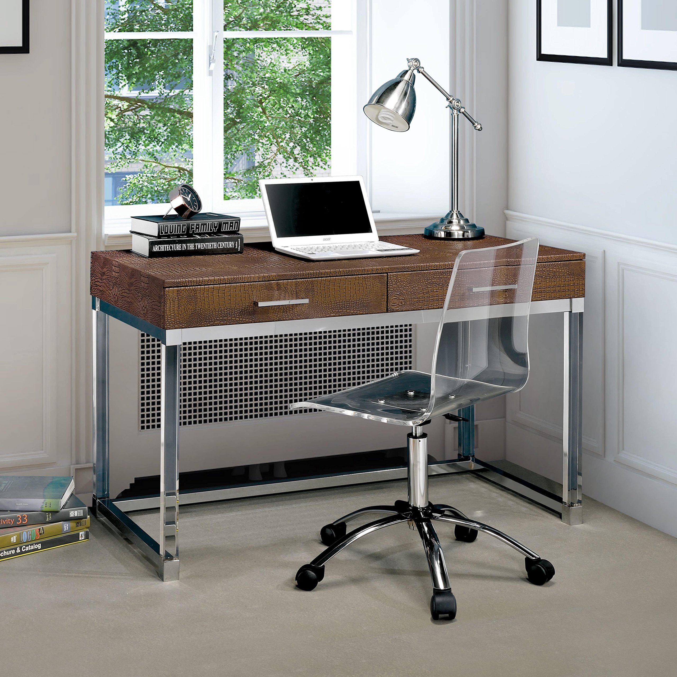 Furniture of America Mamel Contemporary 2-drawer Crocodile Textured Acrylic Computer Desk Brown