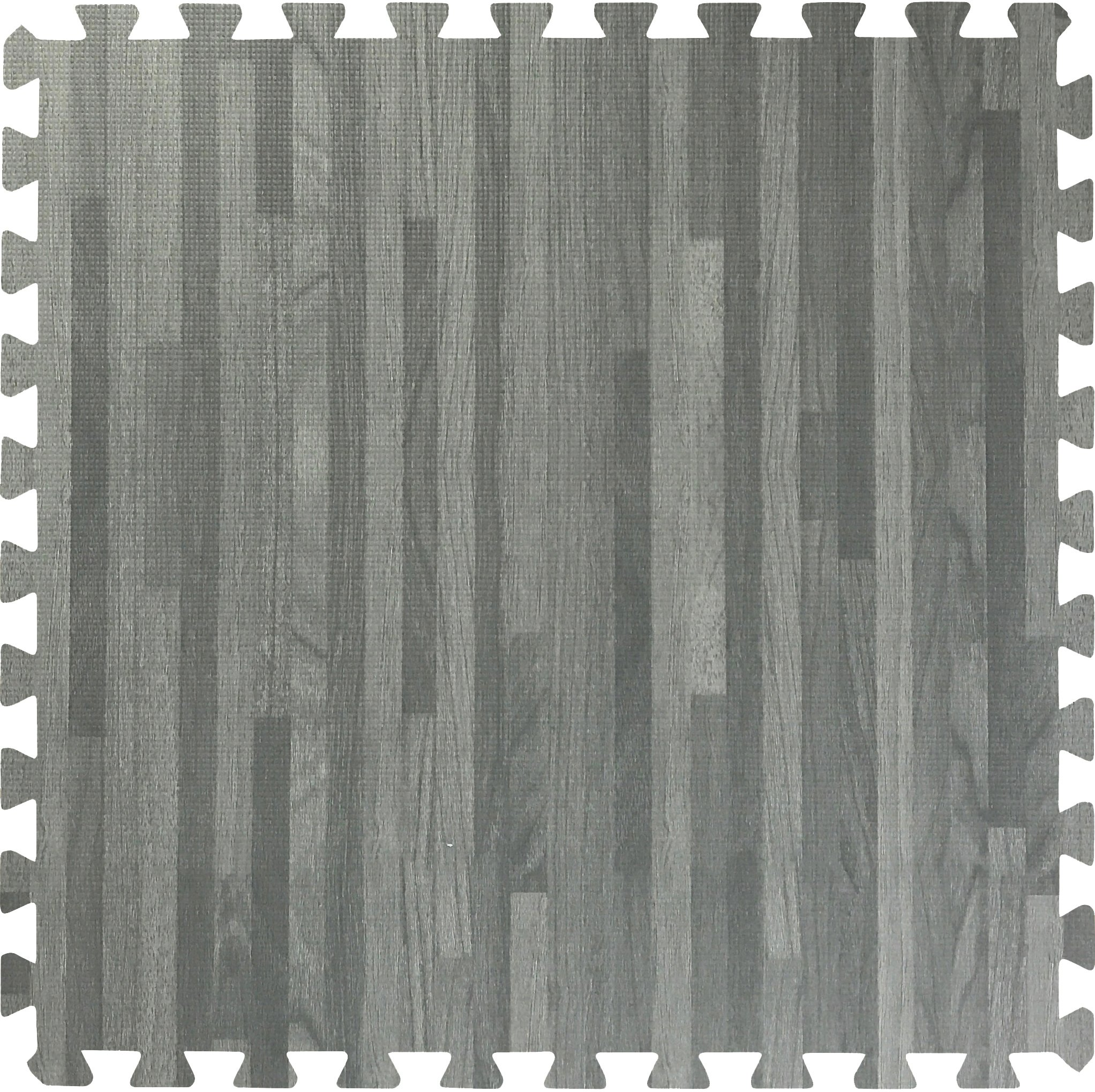 Sorbus Wood Floor Mats Foam Interlocking Wood Mats Each Tile 4 Square Feet 3/8-Inch Thick Puzzle Wood Tiles with Borders – for Home Office Playroom Basement (12 Tiles 48 Sq ft, Wood Grain - Gray) by Sorbus (Image #2)