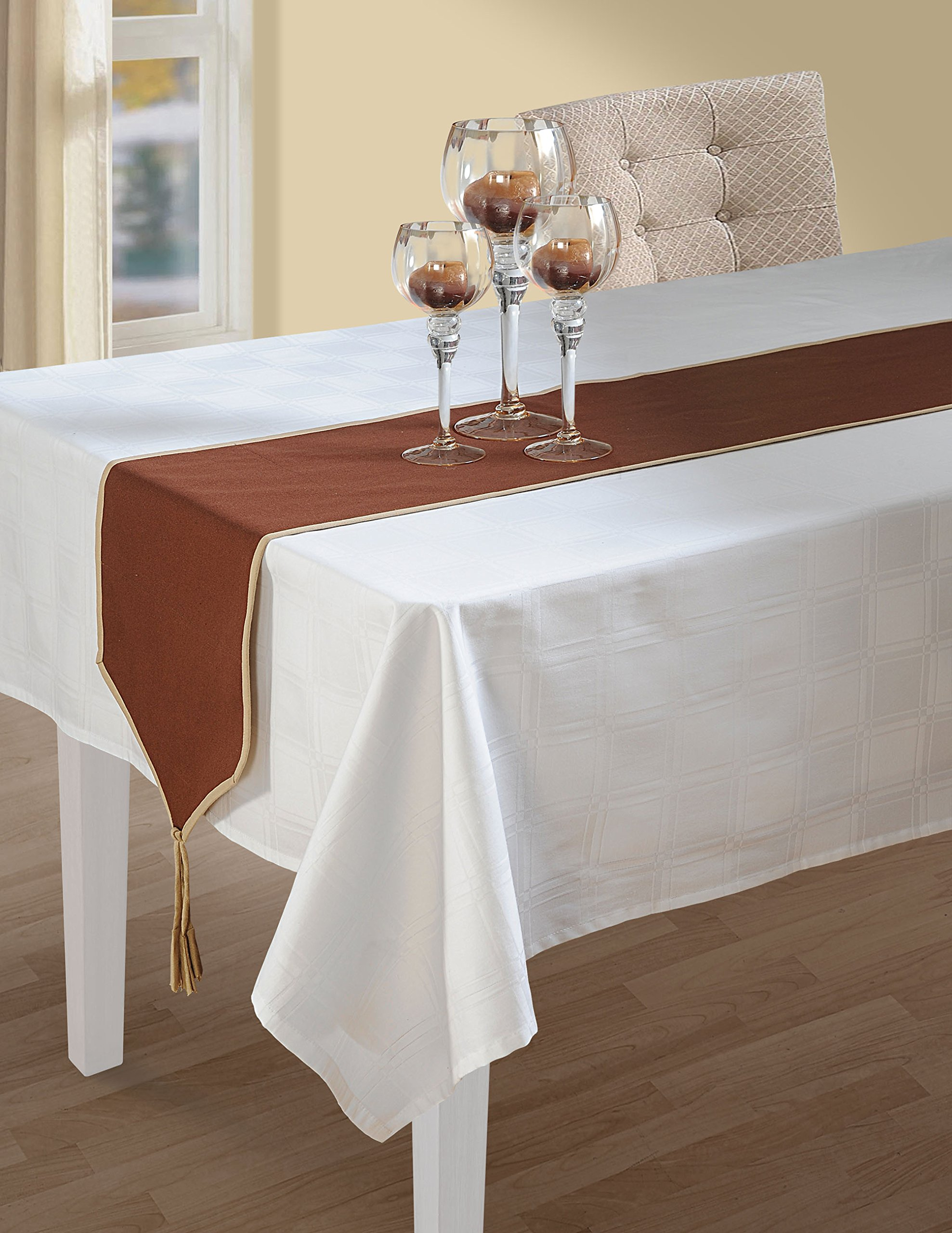 ShalinIndia 2 Tone Chocolate Brown And Beige Table Runner Cotton Duck - 13 x 72 Inch - Machine Washable - Made in India