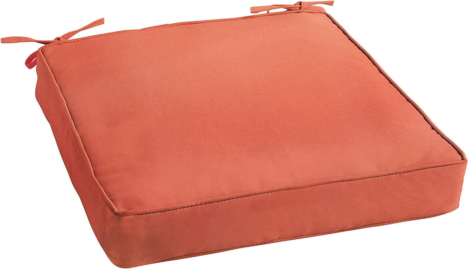 Mozaic AZCS2611 Indoor or Outdoor Sunbrella Square Chair Seat Cushions with Corded Edges and Tie Backs, 20 x 20 x 3, Canvas Melon Coral Orange