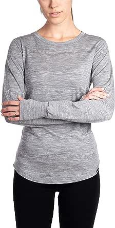 Woolly Clothing Co. Women's Merino Wool Flex Long Sleeve Crew Neck Shirt - Ultralight - Wicking Breathable Anti-Odor