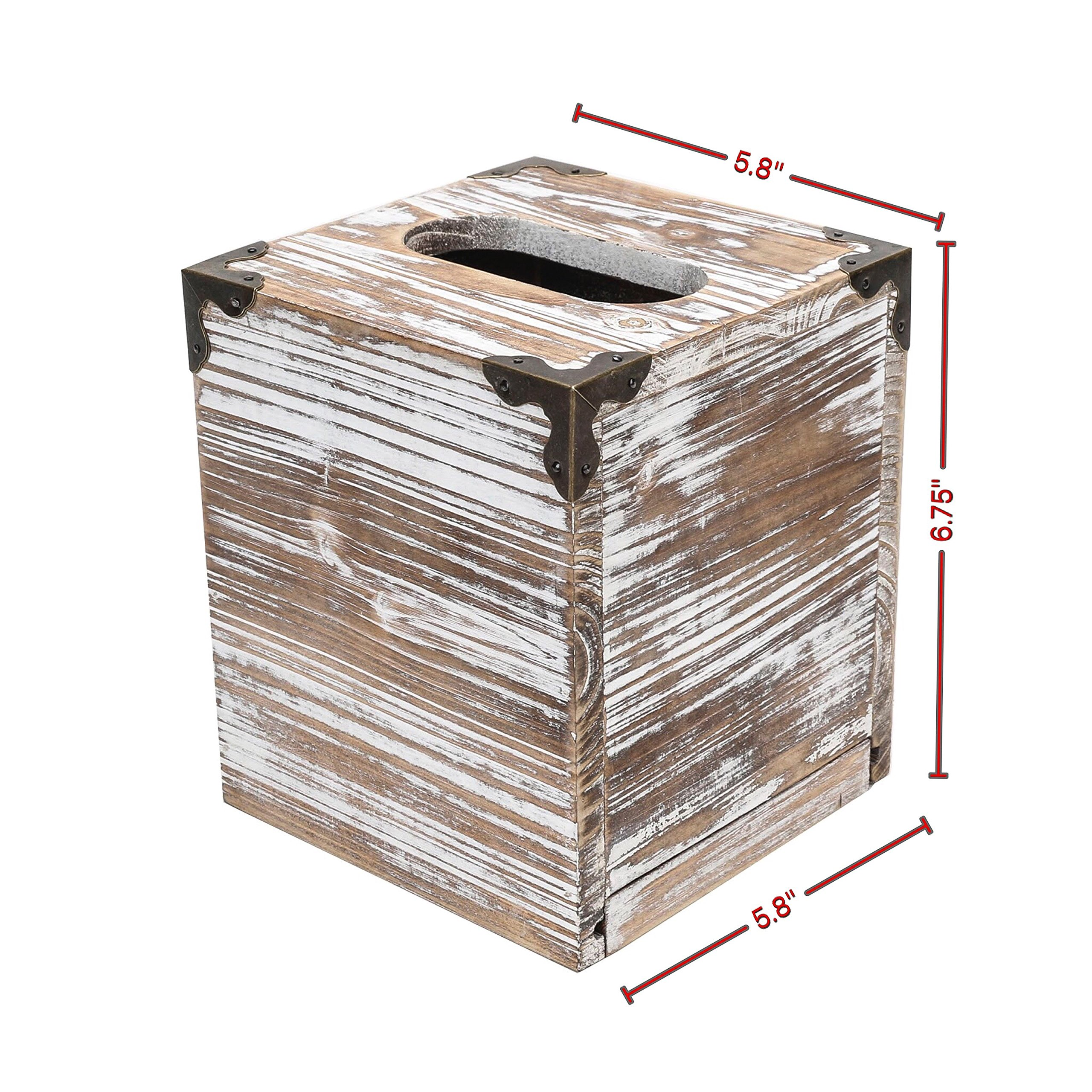 Rusoji Rustic Style Torched Wood Square Facial Tissue Box Holder Cover with Metal Accents, Brown by Rusoji (Image #7)