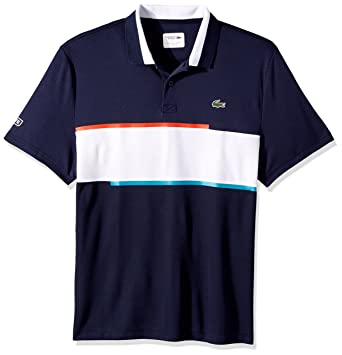 f5936132 Lacoste Men's T1 Chest Stripe Ultradry Pique Knit, Navy Blue/White-Etna Red