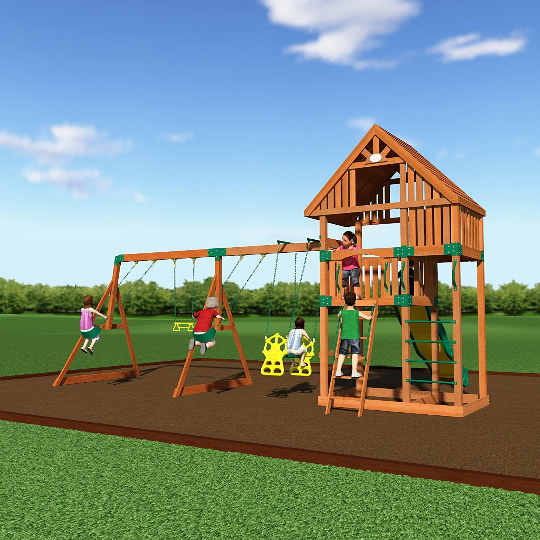 amazon com backyard discovery quest all cedar wood playset swing