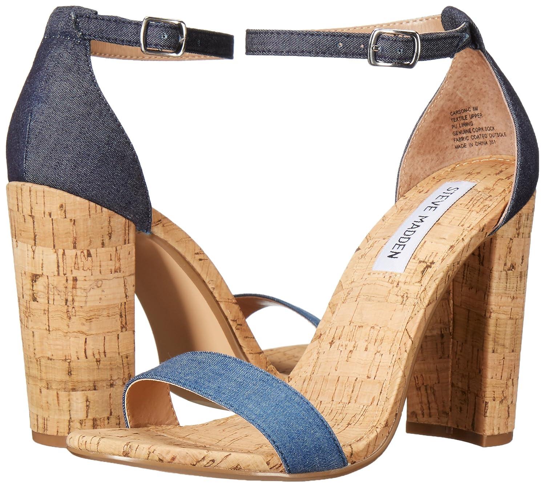 Steve Madden Women's Carson-c Dress Sandal, Denim Fabric, 10 M US