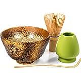 Tealyra - Matcha - Start Up Kit - 4 items - Matcha Green Tea Set - Japanese Made Golden Bowl - Bamboo Whisk and Scoop - Whisk Holder
