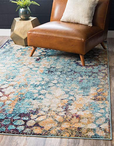 Unique Loom Vita Collection Traditional Over-Dyed Vintage Blue Area Rug 9' 0 x 12' 0