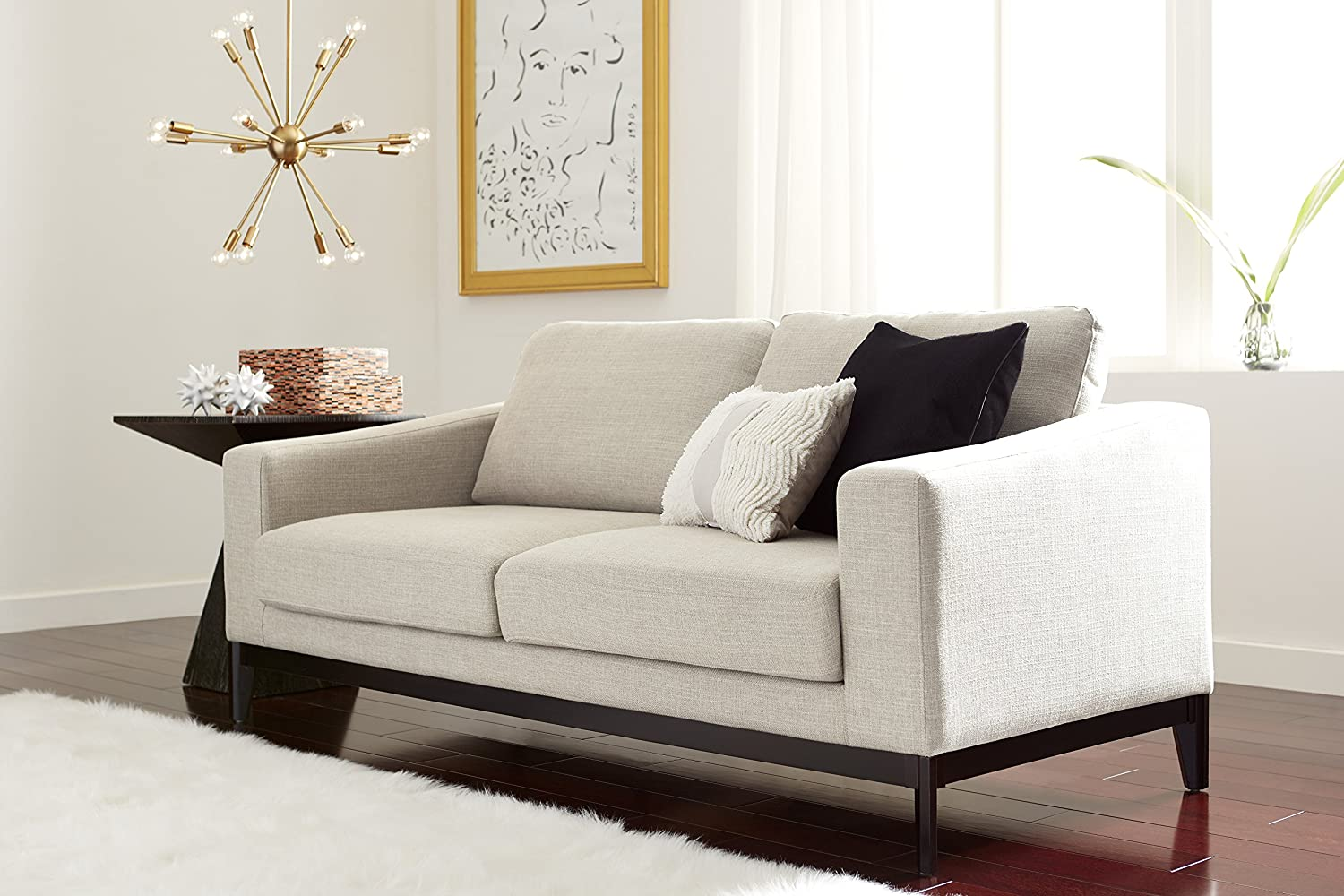 Elle Decor Olivia Sofa, Chenille, Cream