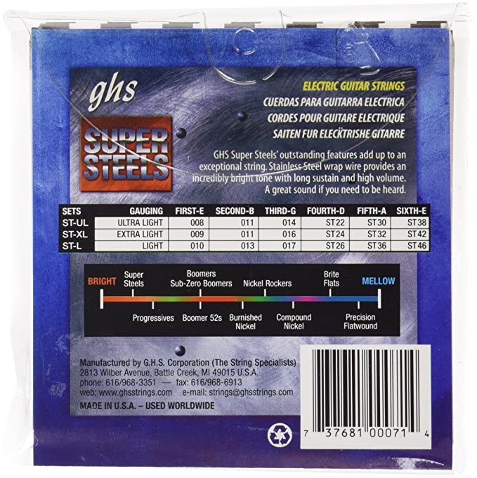 Amazon.com: GHS ST-XL Extra Light Super Steels Electric Guitar Strings (9-42): Musical Instruments