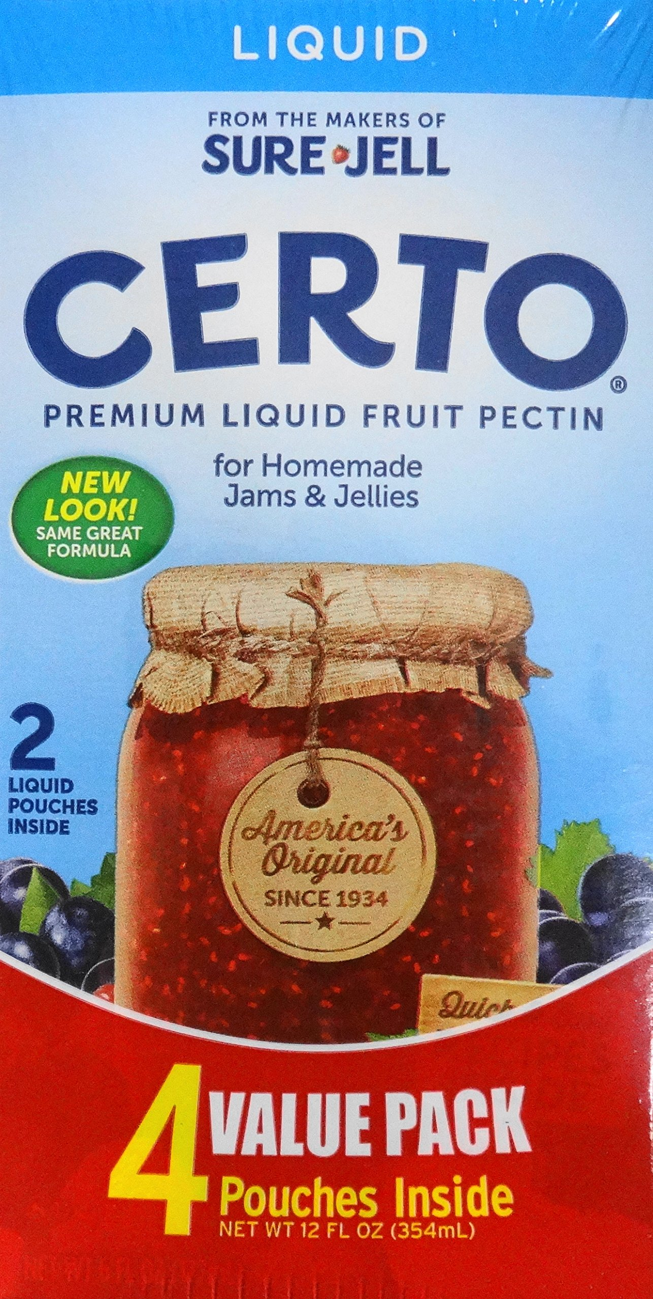 Sure-Jell Certo Premium Liquid Fruit Pectin Value Pack, 2 Boxes, 4 Pouches