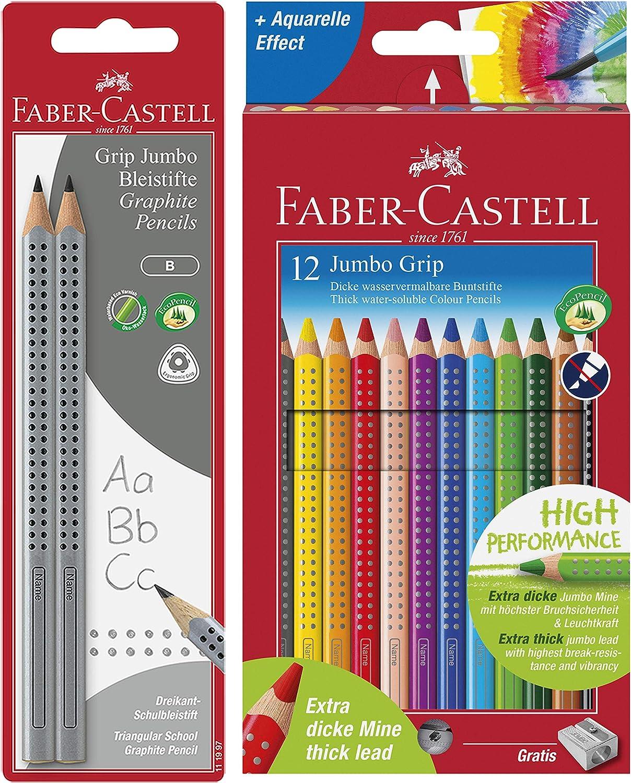 Faber-Castell 111997-2 Jumbo GRIP Bleistifte H/ärtegrad: B + Doppelspitzdose K/äfer inkl. Radierer Schaftfarbe: silber