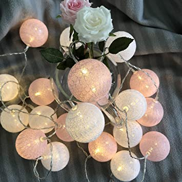 Amazon Com Gladworts Decorative String Lights For Bedroom Hanging Light Globe Newborn Decor Balls Usb Powered Indoor Lights For Home Decor 10ft Warm White And Pink Accessories Home Improvement