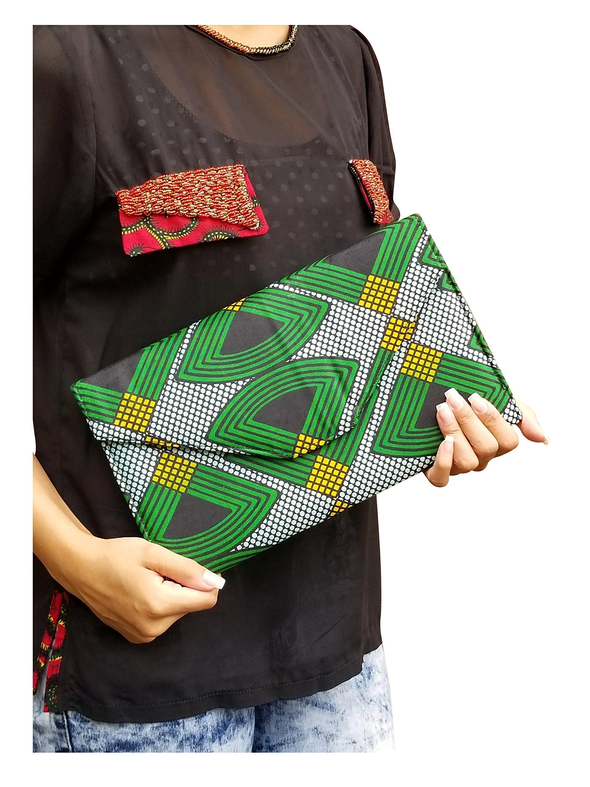 Green, Black African Print Clutch Purse