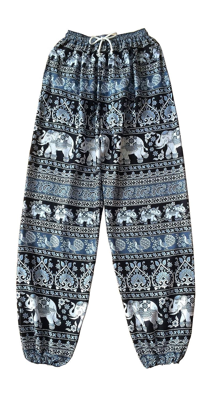 Oriental elefante Yoga pantalones Harem Pantalones Negro y ...