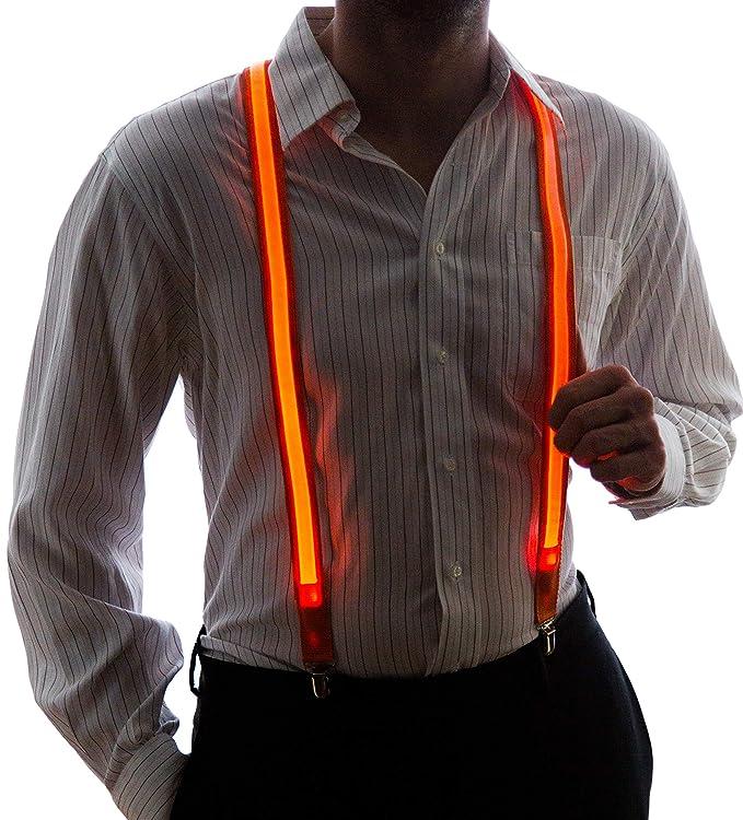 Tirantes de luces led de color naranja para hombre