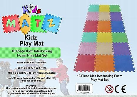 Vinsani 18 Piece Puzzle Interlocking Soft Foam Activity Play Mat Set For Kids