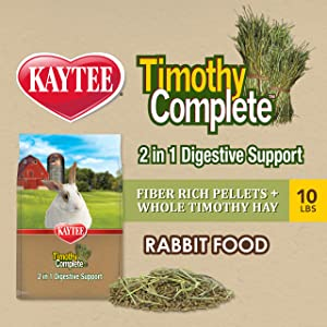 Kaytee Kaytee Timothy Complete Rabbit 2 in 1 Digestive Support 10 Pounds