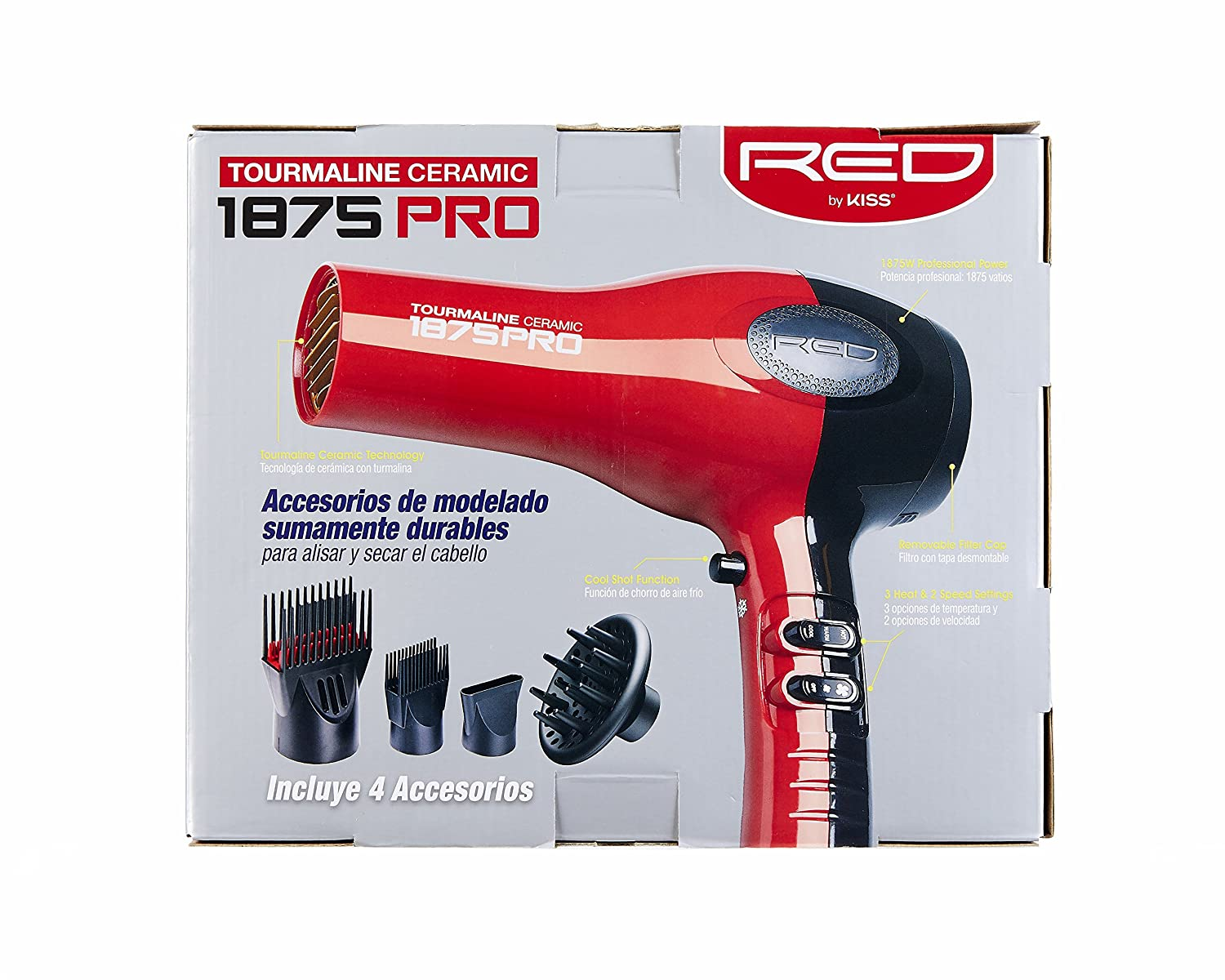 Amazon.com: Red by Kiss 1875 Pro Watt Ceramic Tourmaline Hair Dryer with 4 Additional Styling Attachments: Beauty