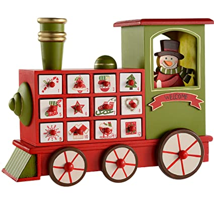 Werchristmas Wooden Train Advent Calendar Christmas Decoration 30