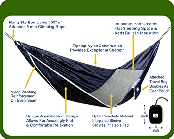 amazon    hammock bliss sky bed   hangs like a hammock sleeps like a bed   unique asymmetrical design creates an amazingly flat and insulated camping     amazon    hammock bliss sky bed   hangs like a hammock sleeps      rh   amazon