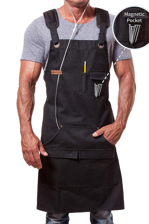 MENT Trends Work Apron For Men Women Heavy Duty Waxed Canvas Black Waterproof Shop Bib Adjustable M to XXL; Magnetic Pocket + Quick Release Buckle + Dual Tool Loops + Headphones Loop + Padded Straps